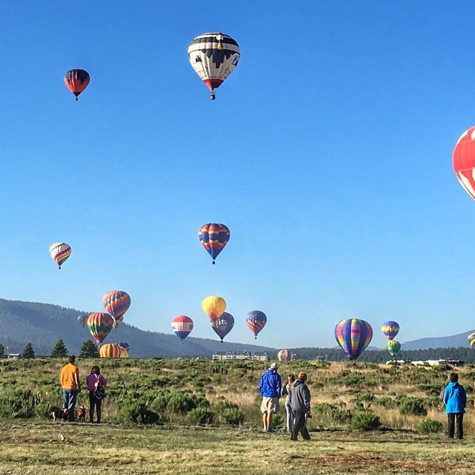 People on the Ground In Front of Hot Air Balloons Flying