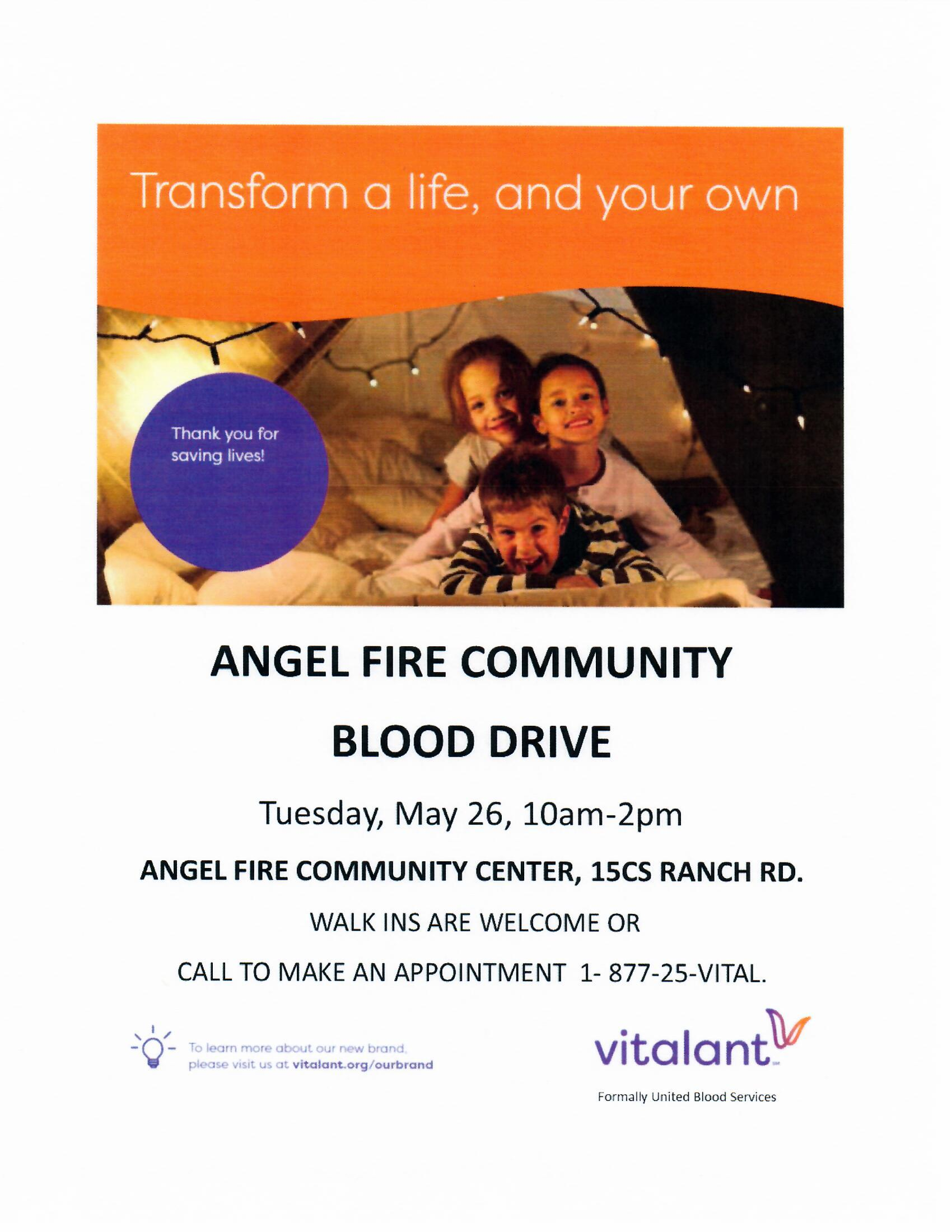 Blood Drive at the Community Center flyer 05.26.2020