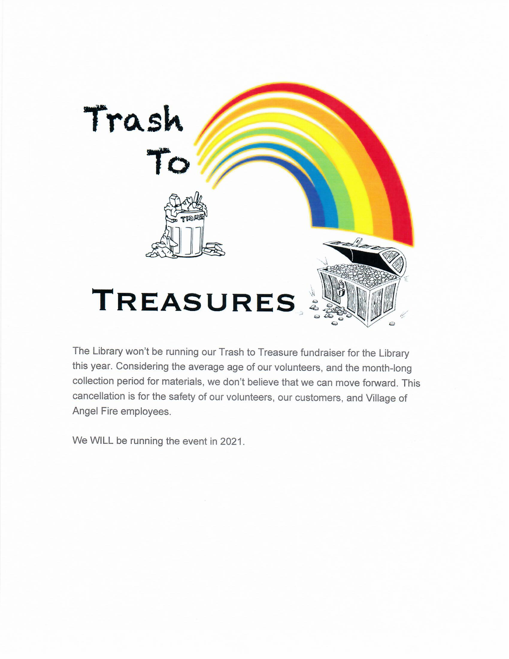 Cancellation of Trash to Treasures for 2020
