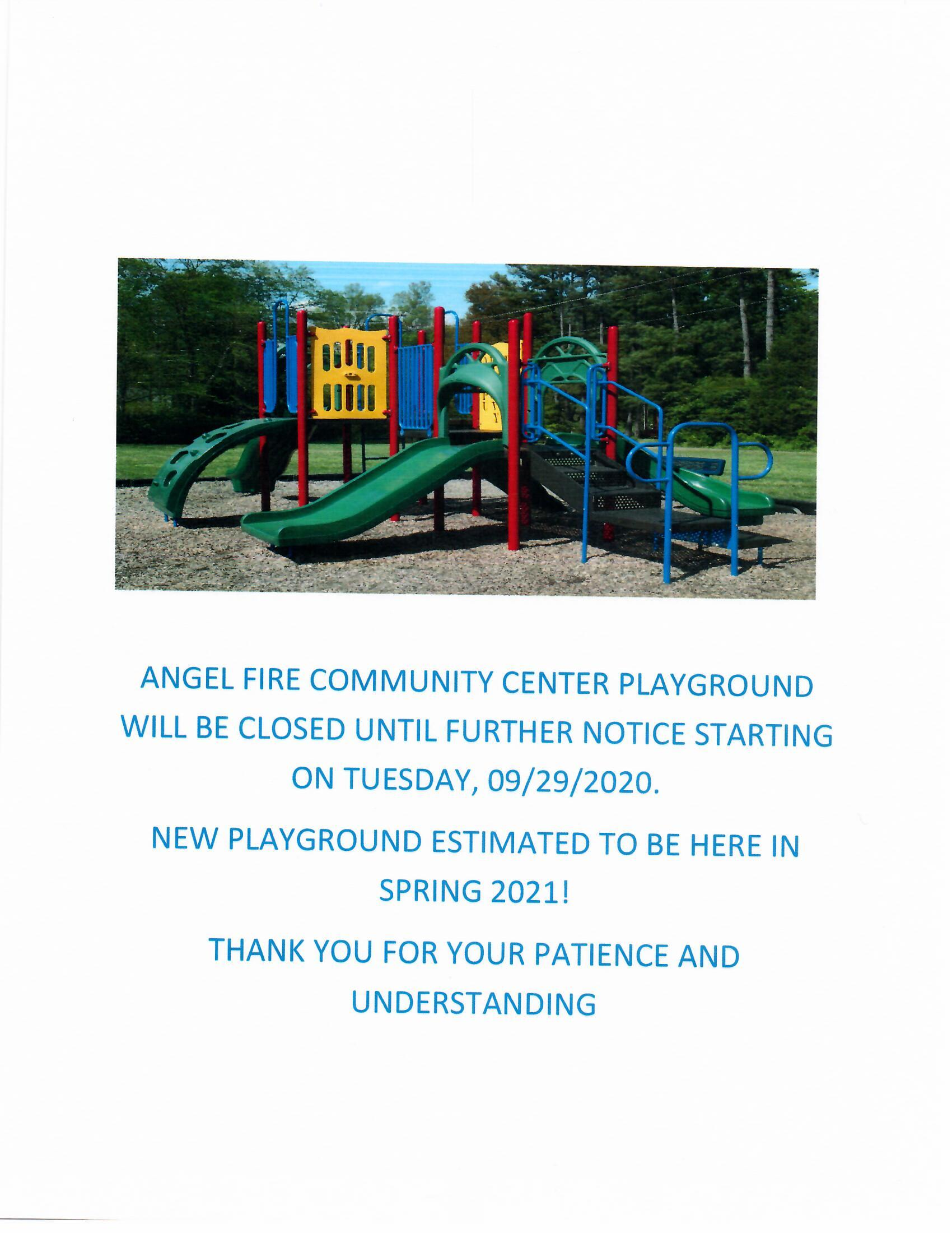 Community Center PLAYGORUND CLOSURE 09/29/2020